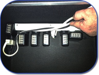 USB charging blocks on the power strip